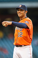 Houston Astros first baseman Carlos Pena (12) during the MLB baseball game against the Detroit Tigers on May 3, 2013 at Minute Maid Park in Houston, Texas. Detroit defeated Houston 4-3. (Andrew Woolley/Four Seam Images).