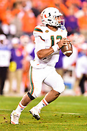 Charlotte, NC - DEC 2, 2017: Miami Hurricanes quarterback Malik Rosier (12) in action during ACC Championship game between Miami and Clemson at Bank of America Stadium Charlotte, North Carolina. (Photo by Phil Peters/Media Images International)