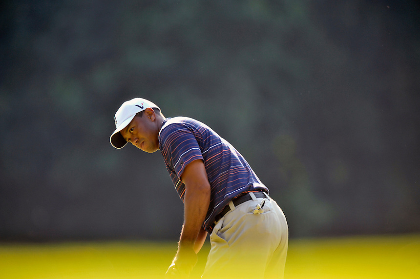 Tiger Woods eyes his birdie putt during the second round of the AT&T National at the Congressional Country Club in Bethesda, MD on Friday, July 3, 2009.  Alan P. Santos/DC Sports Box.Tiger Woods