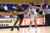 DURHAM, NC - JANUARY 16: Destinee Walker #24 of Notre Dame University is defended by Jade Williams #25 of Duke University during a game between Notre Dame and Duke at Cameron Indoor Stadium on January 16, 2020 in Durham, North Carolina.