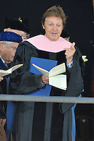 Paul McCartney reacts to someone in the crowd, after receiving his Honorary Doctor of Music Degree, Mus. D, Yale University, New Haven, CT