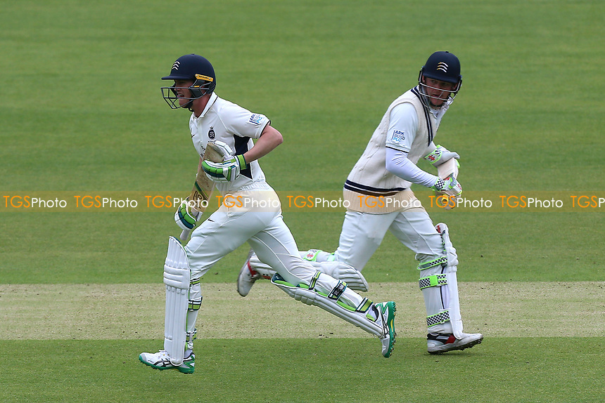 Nick Gubbins (L) and Sam Robson add to the Middlesex total during Middlesex CCC vs Essex CCC, Specsavers County Championship Division 1 Cricket at Lord's Cricket Ground on 21st April 2017