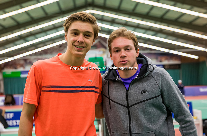 Wateringen, The Netherlands, December 1,  2019, De Rhijenhof , NOJK 12 and16 years, Final boys 16 years: Brian Bozemoj (NED) (L) and Miko Wassermann (NED) <br /> Photo: www.tennisimages.com/Henk Koster