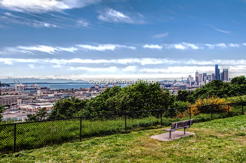 A view of downtown Seattle from the southern hills, Washington State.