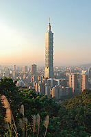 Taipei 101 Tower stands in the Hsinyi district of Taipei, Taiwan. Completed in December 2004, the 508m-high skyscraper is the world's highest building..