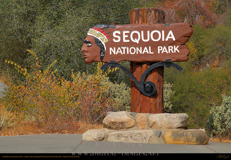 Ash Mountain Entrance Sign in Autumn, Hand-carved Sequoia Wood, George W. Munro 1935, Sequoia National Park