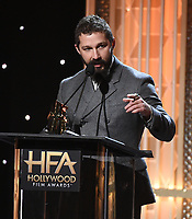"""BEVERLY HILLS - NOVEMBER 3: Shia LaBeouf accepts the Hollywood Breakthrough Screenwriter Award for """"Honey Boy"""" onstage at the 2019 Hollywood Film Awards at the Beverly Hilton on November 3, 2019 in Beverly Hills, California. (Photo by Frank Micelotta/PictureGroup)"""