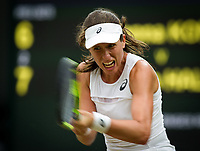 Johanna Konta (6) of Great Britain in action during her victory against Simona Halep (2) of Romania in their Ladies' Singles Quarter Final Match today - Konta def Halep 6-7, 7-6, 6-4<br /> <br /> Photographer Ashley Western/CameraSport<br /> <br /> Wimbledon Lawn Tennis Championships - Day 8 - Tuesday 11th July 2017 -  All England Lawn Tennis and Croquet Club - Wimbledon - London - England<br /> <br /> World Copyright &copy; 2017 CameraSport. All rights reserved. 43 Linden Ave. Countesthorpe. Leicester. England. LE8 5PG - Tel: +44 (0) 116 277 4147 - admin@camerasport.com - www.camerasport.com