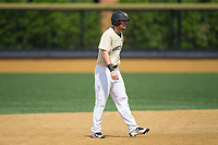 Keegan Maronpot (13) of the Wake Forest Demon Deacons takes his lead off of second base against the Pitt Panthers at David F. Couch Ballpark on May 20, 2017 in Winston-Salem, North Carolina. The Demon Deacons defeated the Panthers 14-4.  (Brian Westerholt/Four Seam Images)