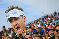 Giant facemask of Ian Poulter during the sunday singles at the Ryder Cup, Le Golf National, Paris, France. 30/09/2018.<br /> Picture Phil Inglis / Golffile.ie<br /> <br /> All photo usage must carry mandatory copyright credit (&copy; Golffile | Phil Inglis)