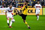 09.03.2019, Signal Iduna Park, Dortmund, GER, 1.FBL, Borussia Dortmund vs VfB Stuttgart, DFL REGULATIONS PROHIBIT ANY USE OF PHOTOGRAPHS AS IMAGE SEQUENCES AND/OR QUASI-VIDEO<br /> <br /> im Bild   picture shows:<br /> Achraf Hakimi (Borussia Dortmund #5) blockt den Schuss von Andreas Beck (VfB Stuttgart #32), <br /> <br /> Foto &copy; nordphoto / Rauch
