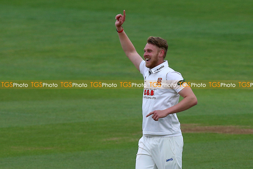 Jamie Porter of Essex celebrates taking the wicket of George Bailey during Essex CCC vs Hampshire CCC, Specsavers County Championship Division 1 Cricket at The Cloudfm County Ground on 20th May 2017