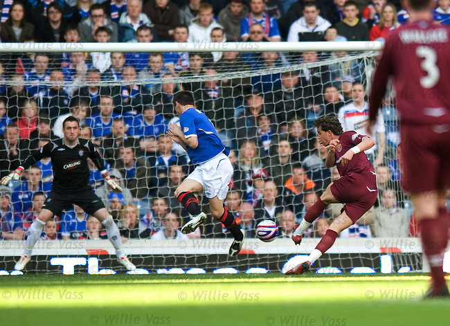 Ruben Palazuelos curls his shot past Lee McCulloch to score the second goal for Hearts