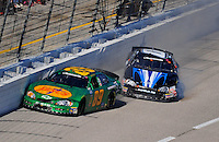Nov. 7, 2009; Fort Worth, TX, USA; NASCAR Nationwide Series driver Morgan Shepherd (89) and Jeremy Clements (0) crash during the O'Reilly Challenge at the Texas Motor Speedway. Mandatory Credit: Mark J. Rebilas-