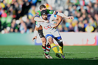 Fritz Lee of ASM Clermont Auvergne is tackled by Tim Molenaar of Harlequins during the Heineken Cup Round 5 match between Harlequins and ASM Clermont Auvergne at the Twickenham Stoop on Saturday 11th January 2014 (Photo by Rob Munro)
