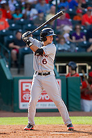 Adrian Marin (6) of the Delmarva Shorebirds at bat against the Greensboro Grasshoppers at NewBridge Bank Park on May 26, 2013 in Greensboro, North Carolina.  The Grasshoppers defeated the Shorebirds 11-2.  (Brian Westerholt/Four Seam Images)