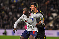 England Under 21's forward Eddie Nketiah (9) with Kosovo Under 21's defender Besfort Kolgeci (4) during the UEFA Euro U21 Qualifying match between England U21 & Kosovo U21 at KCOM Craven Park, Hull, England on 9 September 2019. Photo by Stephen Buckley / PRiME Media Images.