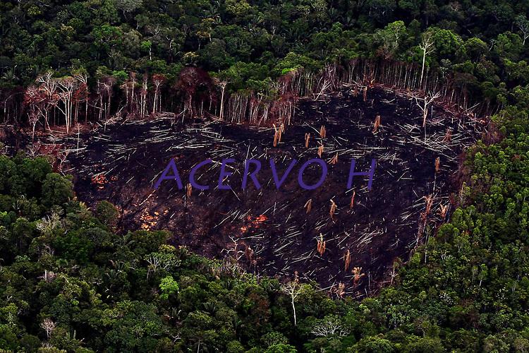 """Santarém Pará- 21 10 2009 DESMATAMENTO AMAZÔNIA. Área desmatada na gleba Nova Olinda onde uma balsa carregada de madeira ilegal foi bloqueada no rio Arapiuns por comunitários e lideranças indígenas de 25 comunidadades  da gleba  Nova Olinda. Os protestos para chamar a atenção do governo do Pará para o caos fundiário e ambiental que se arrasta há anos na região. A série """"Uma certa Amazônia"""" realizada durante a primeira década do século  21, quando os eventos extremos de cheia e vazante na Amazônia revelaram que algo de muito errado está acontecendo com o clima do planeta. Mudanças cada vez mais drásticas no regime das águas da bacia dos rios Negro e Solimões provocaram impactos como a fome, sede, doenças e mortandade de animais. O cotidiano das populações tradicionais e a paisagem amazônica mudaram definitivamente. Uma situação de extremos, onde as vazantes estão, a cada ano, se transformando em catástrofes e as cheias mostrando-se cada vez mais trágicas. Este cenário que a cada vez mais perde áreas de florestas para o agronégocio, principalmente  as plantações de soja e milho, assim como a criação de gado, além da pressão sofrida pela industria madereira em áreas de preservação permanente e também em terras indígenas, além  da exploração mineral e a ameaça pelas grandes obras de infra-estrutura do governo brasileiro fazem da Amazônia um dos ecossistemas mais frágeis perante a ação do homem."""