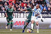 10th February 2019,  Estadio Municipal de Butarque, Leganes, Spain; La Liga football, Leganes versus Real Betis; Jonathan Silva (CD Leganes) challenges for control of the ball with William Carvalho (Betis)