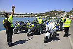 Police escort motos lines up before the start of Stage 1 of the La Vuelta 2018, an individual time trial of 8km running around Malaga city centre, Spain. 25th August 2018.<br /> Picture: Eoin Clarke | Cyclefile<br /> <br /> <br /> All photos usage must carry mandatory copyright credit (© Cyclefile | Eoin Clarke)