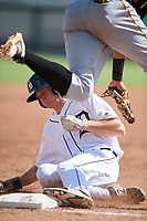 Detroit Tigers Kingston Liniak (9) slides into third base during a Florida Instructional League game against the Pittsburgh Pirates on October 6, 2018 at Joker Marchant Stadium in Lakeland, Florida.  (Mike Janes/Four Seam Images)