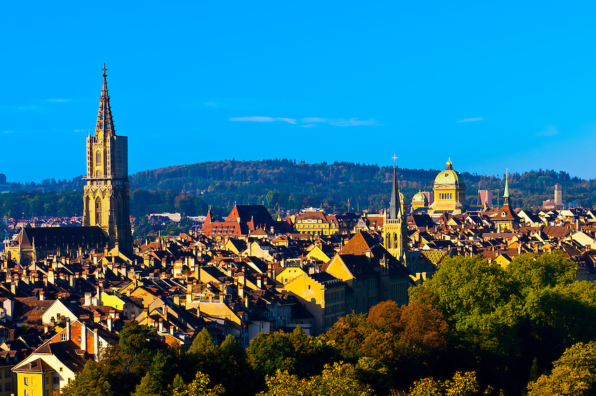 The medieval city center of Bern with the Munster (Cathedral of Bern) in background, Canton Bern, Switzerland