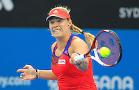 Angelique Kerber of Germany  hits a forehand to Madison Keys of U.S. during their semi-final match at the Sydney International tennis tournament, Jan. 9, 2014.  Daniel Munoz/Viewpress IMAGE RESTRICTED TO EDITORIAL USE ONLY