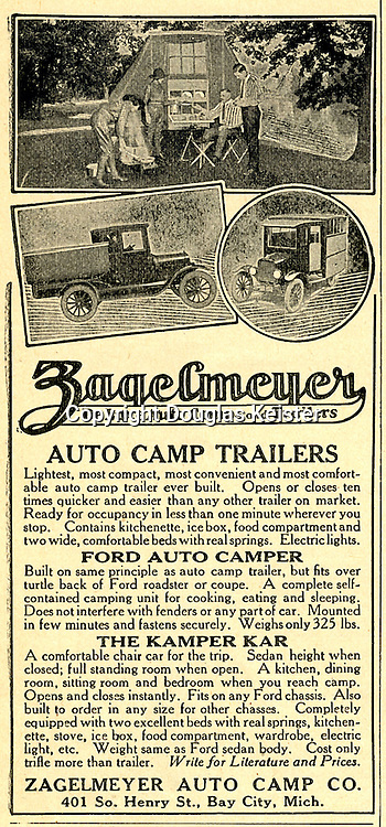 In the 1920s, the Zagelmeyer Auto Camp Company was the best known camp car company. It offered a number of products to suit any budget from the inexpensive tent trailer that was easy to tow to the luxurious Pullman Camping Touring Coach house car.