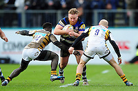 Ross Batty of Bath Rugby takes on the Wasps defence. Aviva Premiership match, between Bath Rugby and Wasps on March 4, 2017 at the Recreation Ground in Bath, England. Photo by: Patrick Khachfe / Onside Images