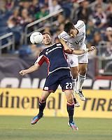 New England Revolution forward Blake Brettschneider (23) and Vancouver Whitecaps FC defender Alain Rochat (4) battle for head ball. In a Major League Soccer (MLS) match, the New England Revolution defeated Vancouver Whitecaps FC, 4-1, at Gillette Stadium on May 12, 2012.