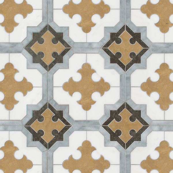Corsini, a waterjet mosaic, shown in honed Calacatta Tia, Cavern, Lagos Gold, and Allure, is part of the Miraflores Collection by Paul Schatz and Sara Baldwin for New Ravenna.