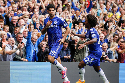 27.09.2014.  London, England. Barclays Premier League. Chelsea versus Aston Villa from Stamford Bridge. Diego Costa of Chelsea scelebrates after scoring Chelsea's second goal of the game.