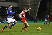 Oldham Athletic's Ryan McLaughlin (left)  and Fleetwood Town's George Glendon (right)  during the Sky Bet League 1 match between Oldham Athletic and Fleetwood Town at Boundary Park, Oldham, England on 26 December 2017. Photo by Juel Miah / PRiME Media Images.