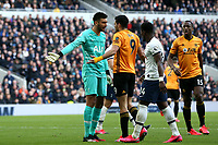 Raul Jimenez of Wolverhampton Wanderers and Paulo Gazzaniga of Tottenham Hotspur argue during Tottenham Hotspur vs Wolverhampton Wanderers, Premier League Football at Tottenham Hotspur Stadium on 1st March 2020