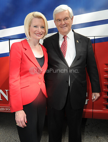 CORAL SPRINGS, FL - JANUARY 25:  Republican presidential hopeful former Speaker Newt Gingrich and wife Callista Gingrich hold a rally in the parking lot of the Wings Plus restaurant,. On January 25, 2012 in Coral Springs, Florida<br /> <br /> <br /> People:  Newt Gingrich_Callista Gingrich<br /> <br /> Transmission Ref:  MNC5<br /> <br /> Hoo-Me.com / MediaPunch