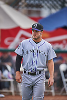 Jacob Barnwell (13) of the Grand Junction Rockies before the game against the Ogden Raptors at Lindquist Field on June 17, 2019 in Ogden, Utah. The Rockies defeated the Raptors 9-0. (Stephen Smith/Four Seam Images)