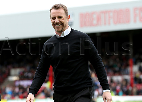 April 14th 2017,  Brent, London, England; Skybet Championship football, Brentford versus Derby County; Derby County Manager Gary Rowett smiling as he approaches the dugout before kick off