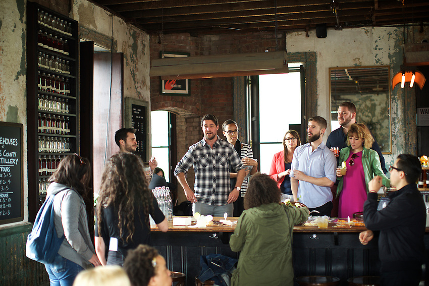 BROOKLYN, NY - May 9, 2017: Edible Collective brought New York bartenders together to Kings County Distillery at the Brooklyn Navy Yards for a tour, tasting and headshots by Clay Williams.<br /> <br /> Credit: Clay Williams.<br /> <br /> &copy; Clay Williams / http://claywilliamsphoto.com