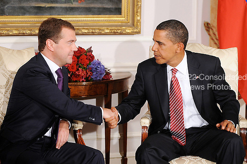 New York, NY - September 23, 2009 -- United States President Barack Obama and President Dimitri Medvedev of Russia checks hands after a bilateral meeting at the Waldorf Astoria on Wednesday, September 23, 2009 in New York..Credit: Olivier Douliery - Pool via CNP