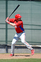 Philadelphia Phillies infielder Zach Green (25) during a minor league Spring Training game against the New York Yankees at Carpenter Complex on March 21, 2013 in Clearwater, Florida.  (Mike Janes/Four Seam Images)