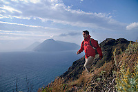 Lipari, Eolian Islands, Italy, June 2006. Walking on the western side of Lipari one can see the Island of Salina from the Timpone Ospedale mountain. The Volcanic Eolian Islands of Southern Italy offer a spectacular landscape for trekking while staying in picturesque towns. Photo by Frits Meyst/Adventure4ever.com