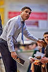 18 December 2019: University of North Carolina Greensboro Spartan Head Coach Wes Miller, glances up at the scoreboard during first half action against the University of Vermont Catamounts at Patrick Gymnasium in Burlington, Vermont. The Spartans edged out the Catamounts 54-53 in the final minutes of play. Mandatory Credit: Ed Wolfstein Photo *** RAW (NEF) Image File Available ***