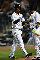 Second baseman Luis Carpio (18) of the Columbia Fireflies is congratulated by Michael Paez (3) after scoring a run in a game against the Augusta GreenJackets on Opening Day, Thursday, April 6, 2017, at Spirit Communications Park in Columbia, South Carolina. Columbia won, 14-7. (Tom Priddy/Four Seam Images)