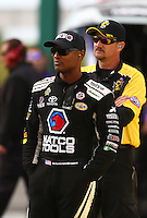 May 20, 2016; Topeka, KS, USA; NHRA top fuel driver Antron Brown during qualifying for the Kansas Nationals at Heartland Park Topeka. Mandatory Credit: Mark J. Rebilas-USA TODAY Sports