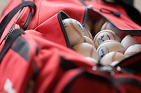 18 August 2007: Baseballs in a bag lie in the dugout during the China 5-1 victory over France in the Good Luck Beijing International baseball tournament (olympic test event) at the Wukesong Baseball Field in Beijing, China.