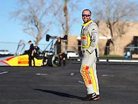 Feb 3, 2016; Chandler, AZ, USA; NHRA top fuel driver Shawn Langdon during pre season testing at Wild Horse Pass Motorsports Park. Mandatory Credit: Mark J. Rebilas-USA TODAY Sports