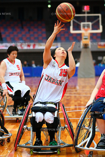 Mari Amimoto (Japan),<br /> FEBRUARY 14, 2015 - Wheelchair Basketball : <br /> 2015 International Women's Wheelchair Basketball Friendship Games OSAKA CUP<br /> Gold Medal Match between Japan 59-42 Great Britain<br /> at Osaka Municipal Central Gymnasiium in Osaka, Japan. <br /> (Photo by Shingo Ito/AFLO SPORT) [1195]