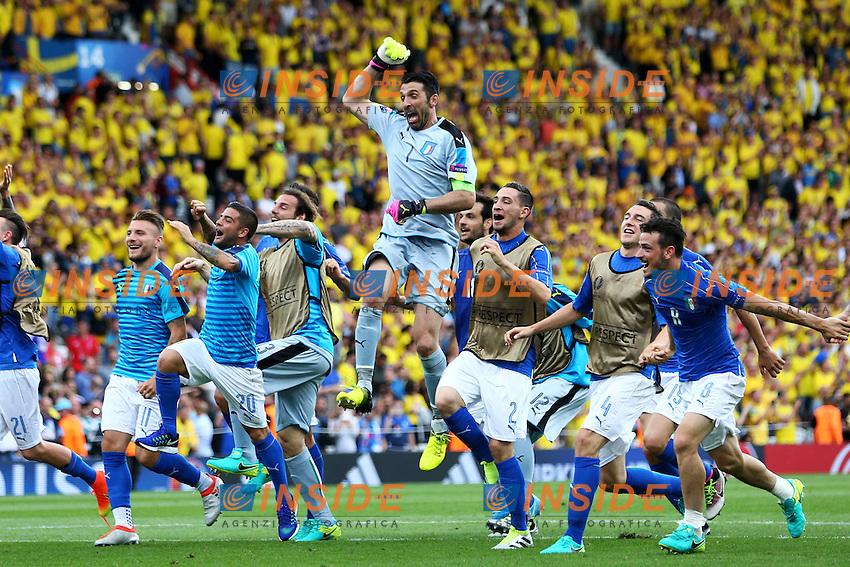 Esultanza Italia Gianluigi Buffon Celebration <br /> Toulouse 17-06-2016 Stade de Toulouse <br /> Football Euro2016 Italy - Sweden / Italia - Svezia Group Stage Group E<br /> Foto Matteo Ciambelli / Insidefoto