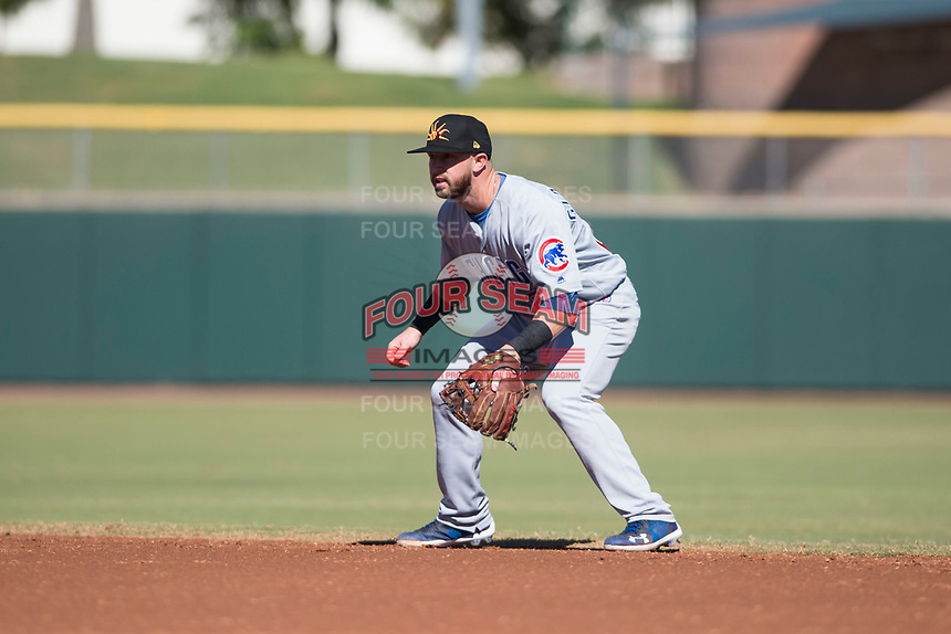 Mesa Solar Sox second baseman Trent Giambrone (27), of the Chicago Cubs organization, during an Arizona Fall League game against the Scottsdale Scorpions at Scottsdale Stadium on November 2, 2018 in Scottsdale, Arizona. The shortened seven-inning game ended in a 1-1 tie. (Zachary Lucy/Four Seam Images)