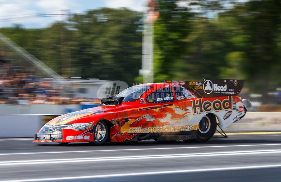 Jun 9, 2017; Englishtown , NJ, USA; NHRA funny car driver Jonnie Lindberg during qualifying for the Summernationals at Old Bridge Township Raceway Park. Mandatory Credit: Mark J. Rebilas-USA TODAY Sports